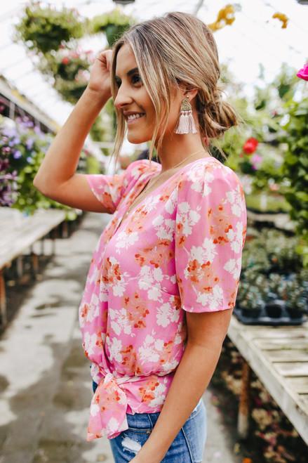 Short Sleeve Pink Floral Wrap Blouse
