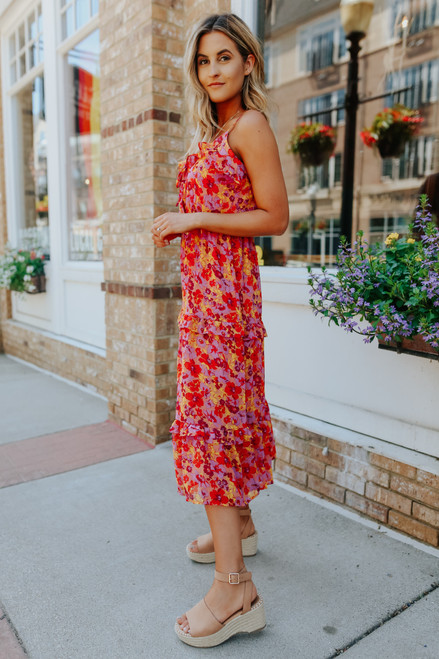 Hidden Paradise Red Floral Tiered Midi Dress