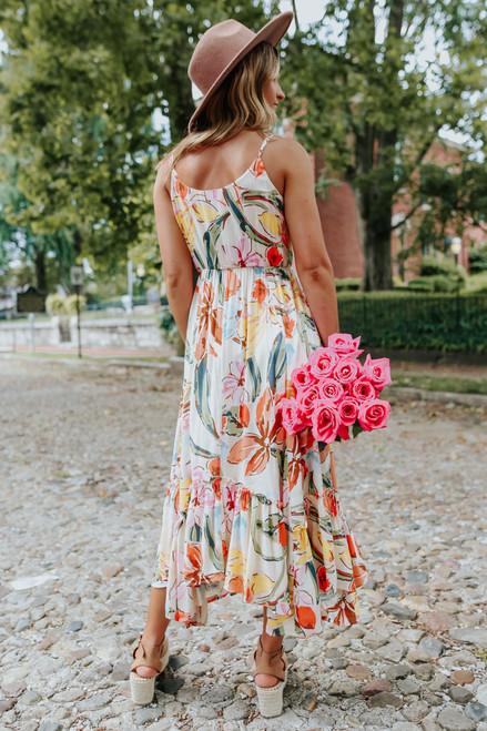Watercolor Floral Asymmetrical Midi Dress