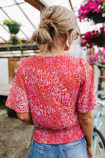 Surplice Red Printed Blouse