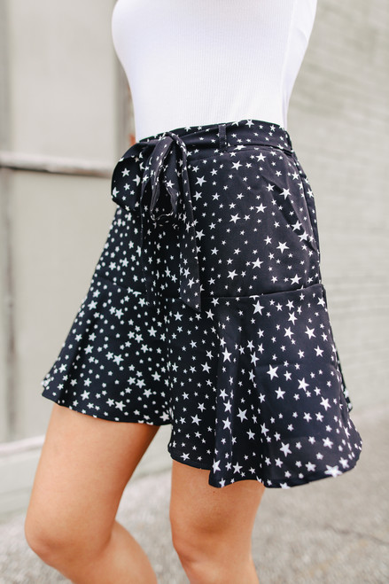 Tie Waist Ruffle Hem Black Star Skirt