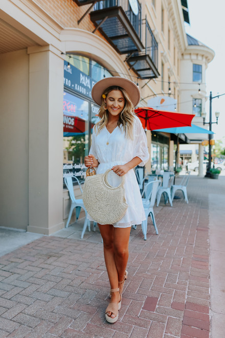 V-Neck Dolman Sleeve White Eyelet Dress
