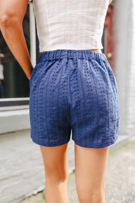 Oceanfront Navy Eyelet Shorts