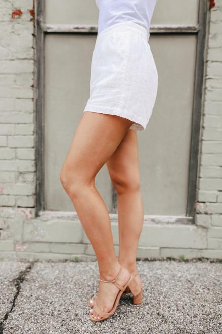 Oceanfront White Eyelet Shorts