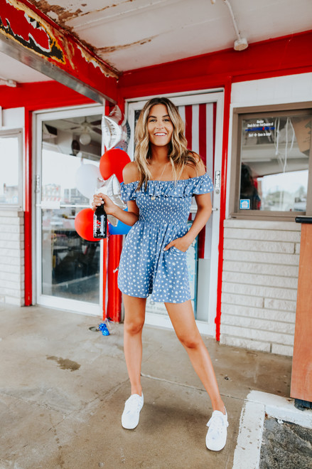 Off the Shoulder Dusty Blue Star Romper