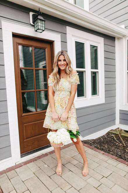 Off the Shoulder Yellow Floral Dress