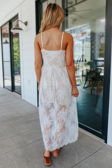 Just a Dream Scalloped White Lace Maxi