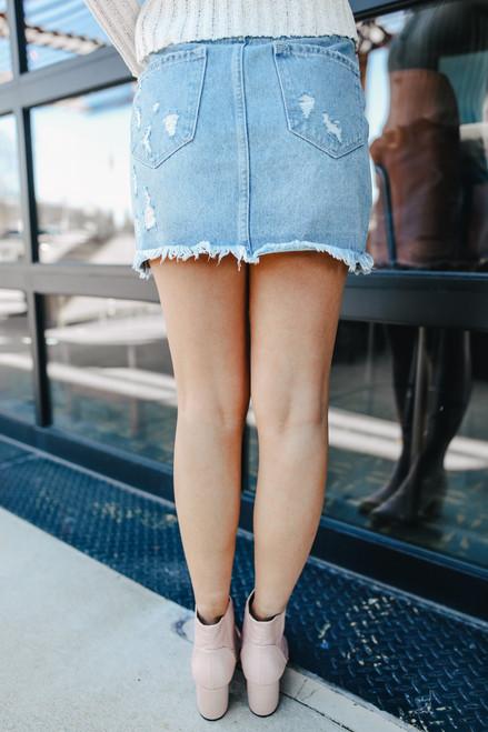 Distressed Medium Wash Denim Skirt