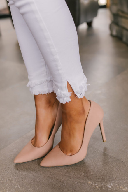 Distressed Frayed Ankle White Skinny Jeans
