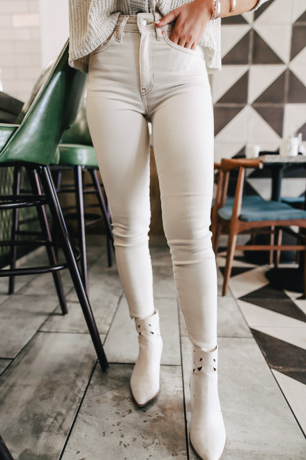 Free People Raw High Rise Ivory Jeggings