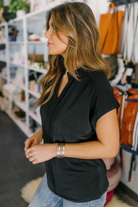 Short Sleeve Pleated Black Blouse