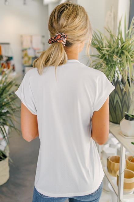 Short Sleeve Pleated White Blouse