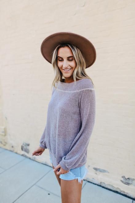 Boatneck Mocha Lightweight Sweater