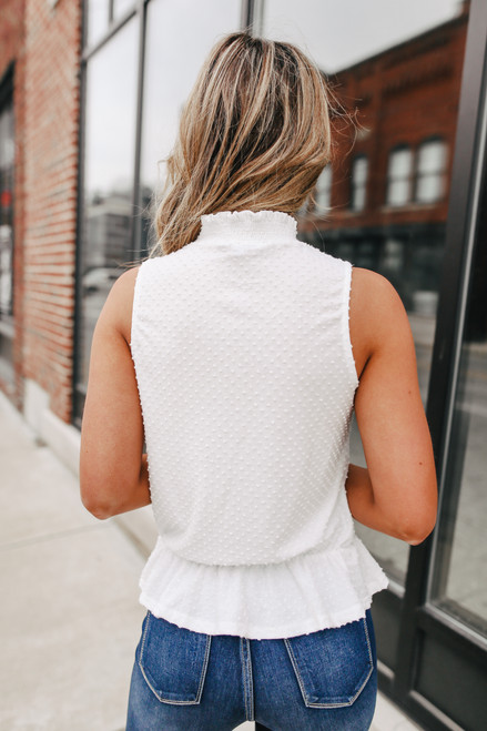 Mock Neck White Dotted Peplum Blouse