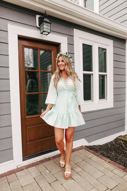 Faux Wrap Crochet Detail Mint Dress