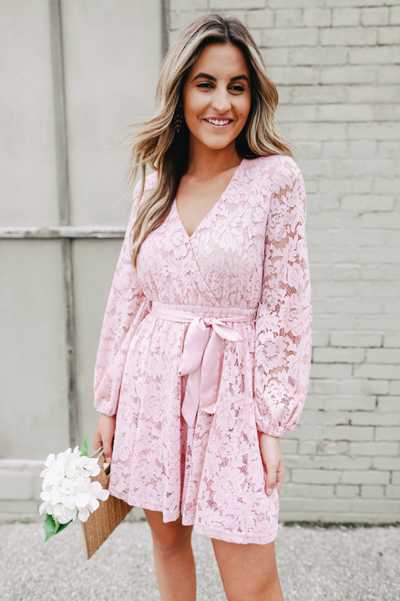Faux Wrap Blush Lace Dress