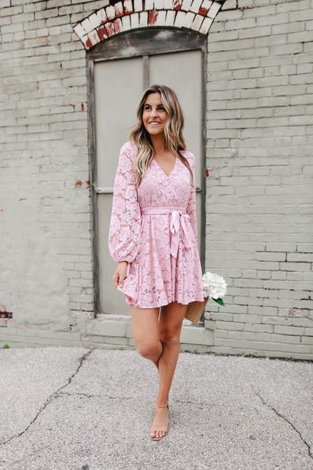 Faux Wrap Blush Lace Dress