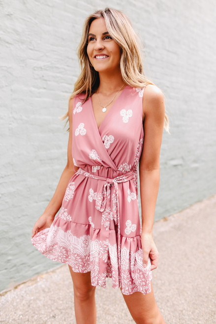 Faux Wrap Mauve Printed Dress
