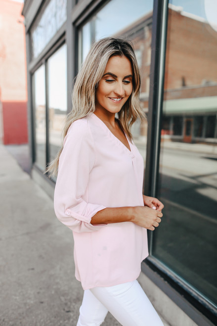 V-Neck Roll Tab Pink Blouse
