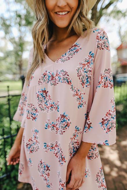 V-Neck Pink Floral Empire Dress