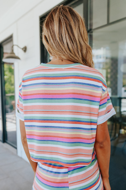 Summer Crush Cuffed Sleeve Striped Pullover