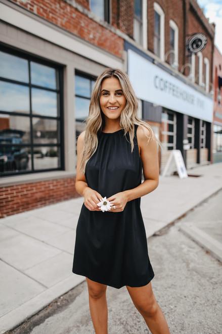 Timeless Pleated Black Shift Dress