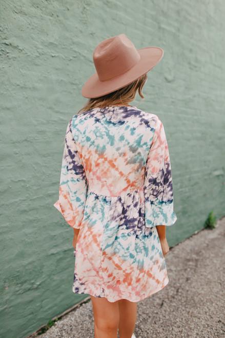 V-Neck Tie Dye Empire Dress