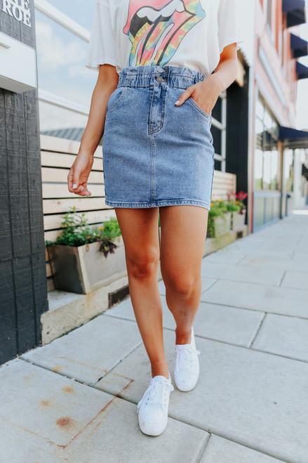 Paperbag Medium Wash Denim Skirt
