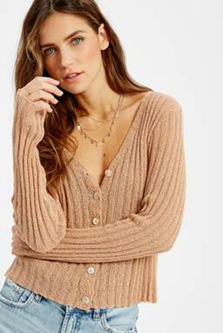 Button Down Dusty Peach Ribbed Cardi