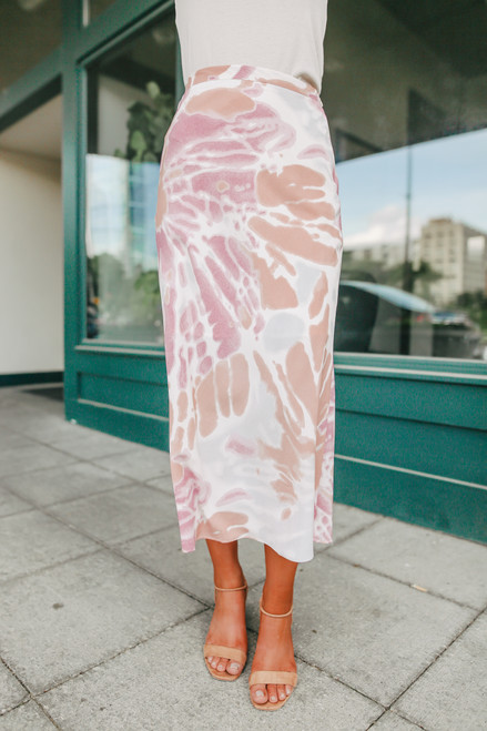Posie Pastel Watercolor Tie Dye Midi Skirt