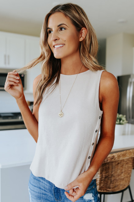 Side Button Taupe Ribbed Tank
