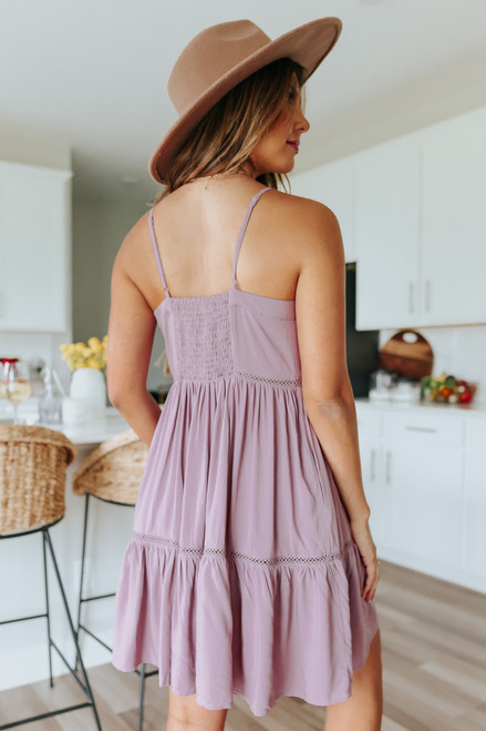 Button Detail Mauve Tiered Dress