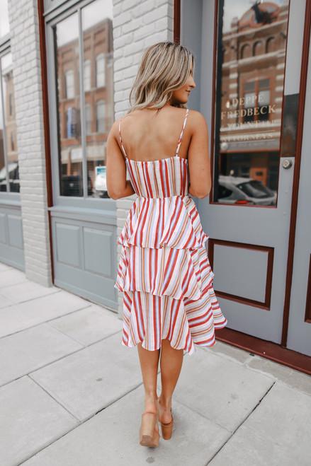 Tropical Bay Surplice Striped Tiered Dress