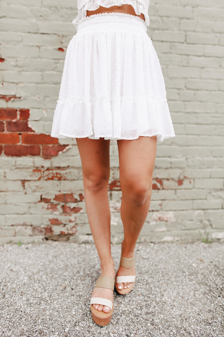 Dotted White Ruffle Hem Skirt - FINAL SALE