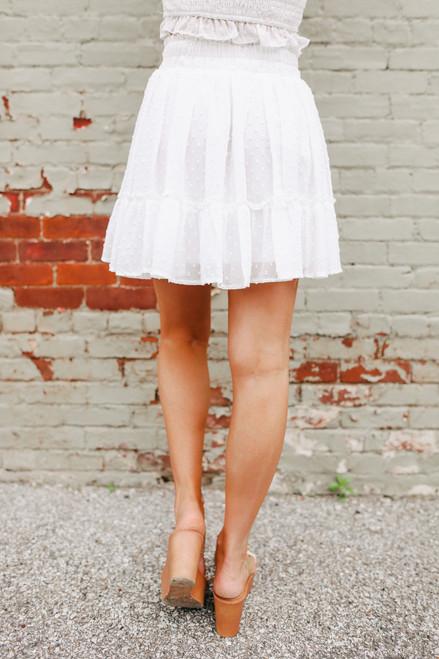 Dotted White Ruffle Hem Skirt