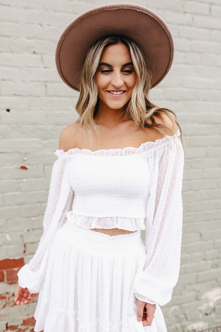 Square Neck Smocked Dotted White Crop Top