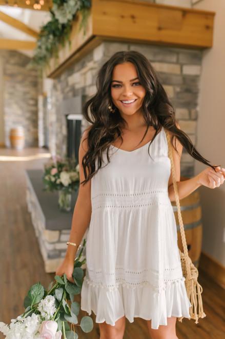 Tie Strap Dotted Pom White Dress