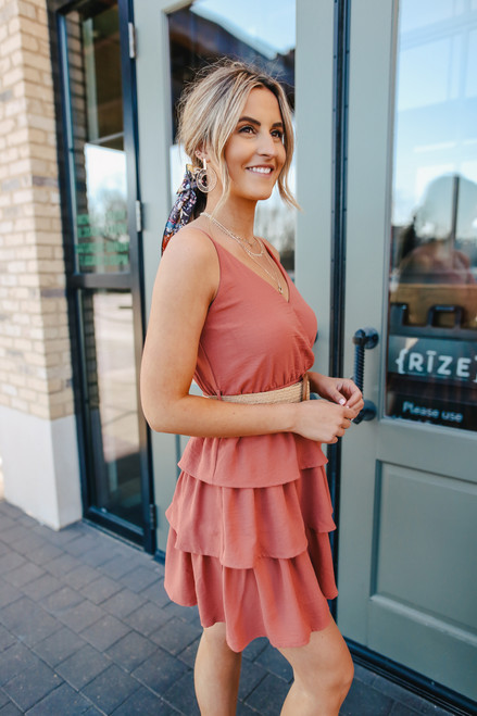 Surplice Salmon Belted Tiered Dress
