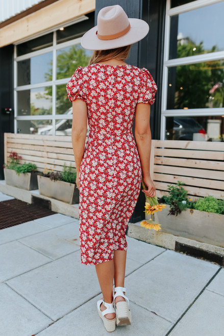 Sweetheart Red Floral Midi Dress