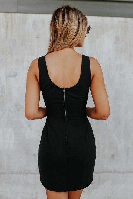 Scoop Neck Black Bodycon Dress