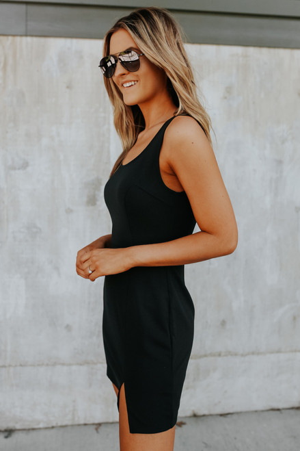 Scoop Neck Black Bodycon Dress