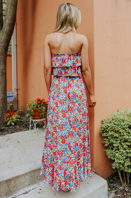 Strapless Watercolor Floral High Low Maxi