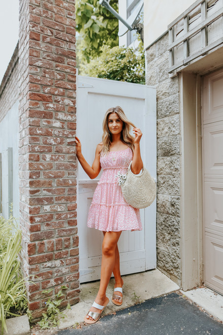 Summer Squeeze Pink Floral Tiered Dress