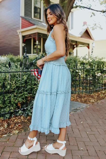Mint Julep V-Neck Dotted Midi Dress