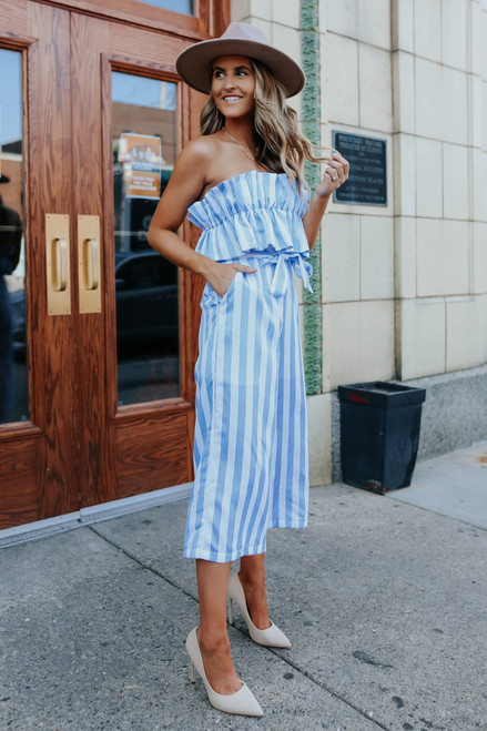 Strapless Ruffled Blue Striped Jumpsuit