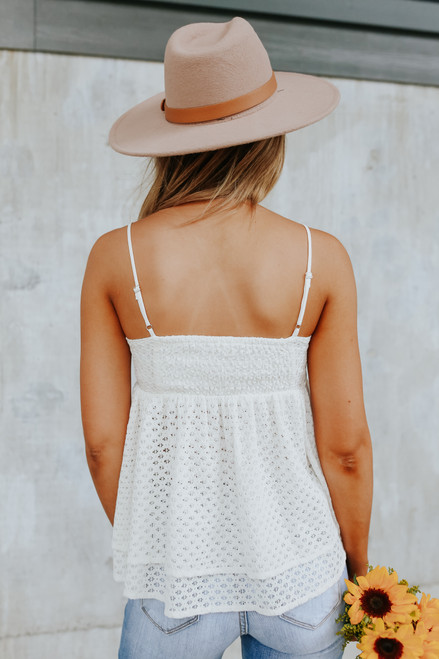 Textured White Lace Babydoll Tank