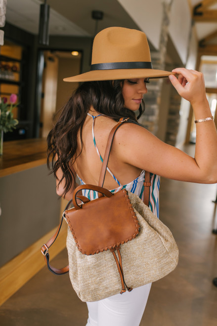 Contrast Straw Backpack