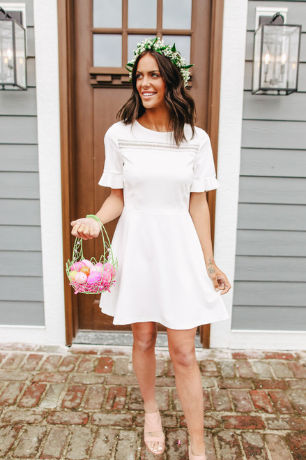 Short Sleeve Lace Detail White Skater Dress