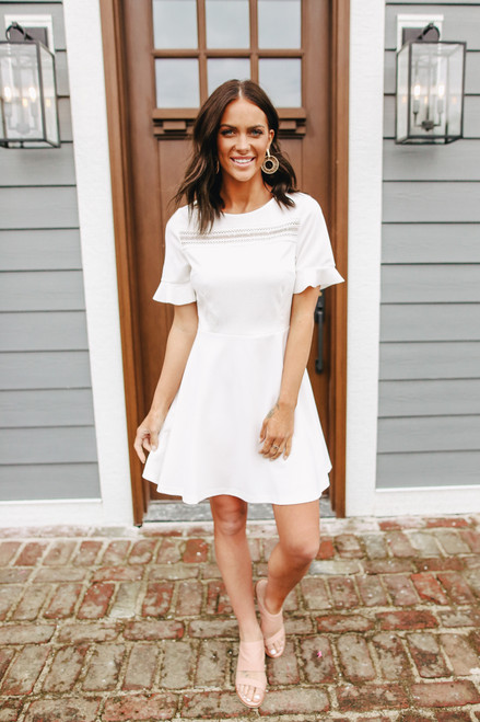 Short Sleeve Lace Detail White Skater Dress