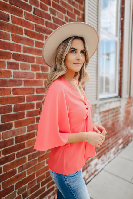 Draped Knotted Orange Empire Blouse